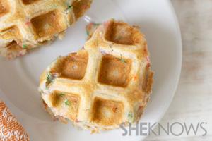 Heart-shaped cake batter waffles