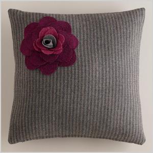 Gray flower wool throw pillow
