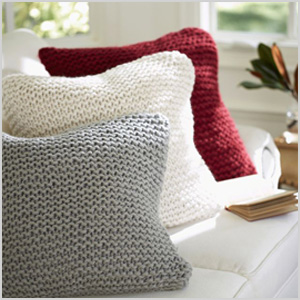 Heathered gray seed-stitch knit pillow cover