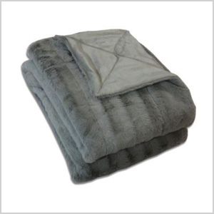Charcoal faux fur throw