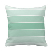Mint ombre stripe pillow