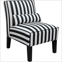 Black & white striped armless upholstered chair