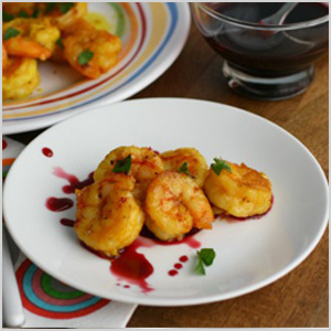 Moroccan-style shrimp with pomegranate dipping sauce