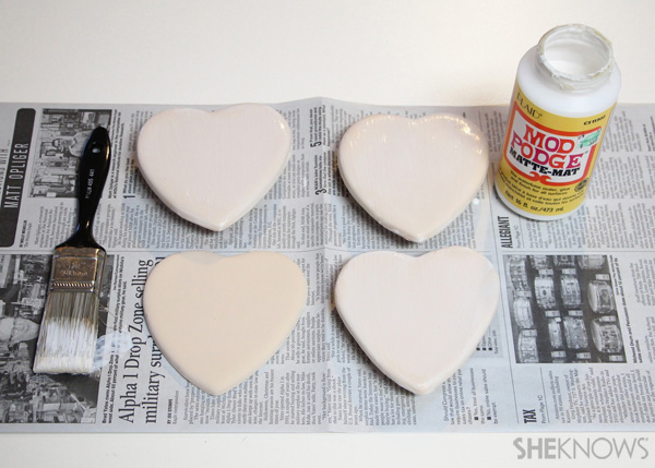 sugar cookie postcard for Valentine's Day Step 2 Coat back with Mod Podge