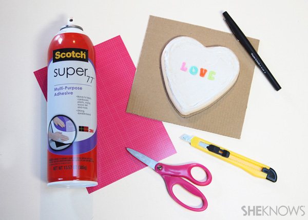 sugar cookie postcard for Valentine's Day: Step 8 Glue paper to cardboard