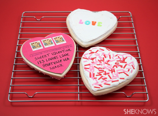 Make a sugar-cookie postcard for Valentine's Day