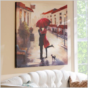 Red umbrella kiss