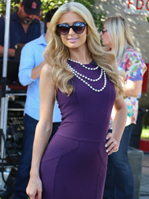 Paris Hilton wearing pearls