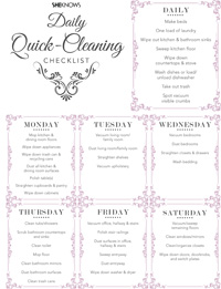 Pink cleaning checklist