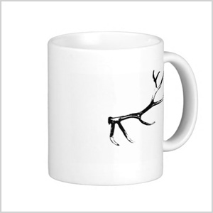 Mugs with antler graphics