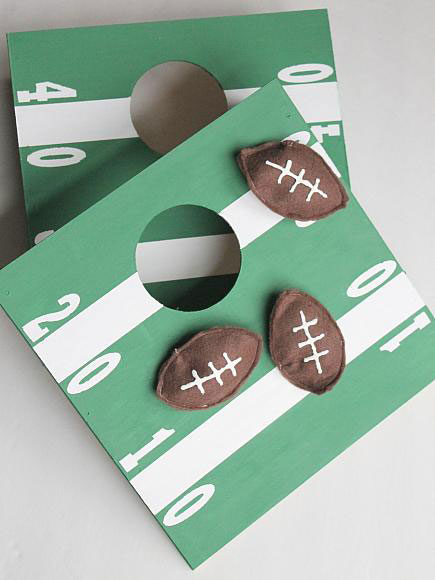 Mini football cornhole game