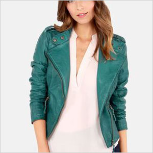 Teal blue vegan leather jacket