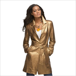 MetroStyle belted leather coat