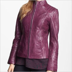 La Marque funnel neck leather jacket