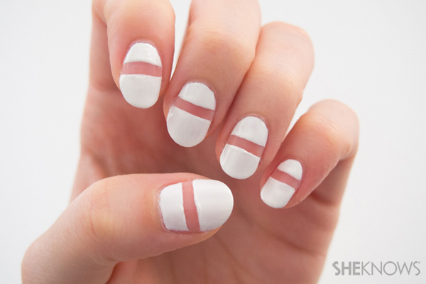 Red tips and see-through stripe nail design