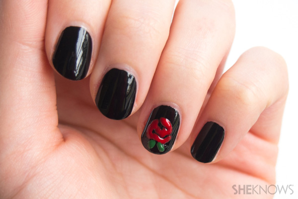 """Will you accept this rose"" nail design"