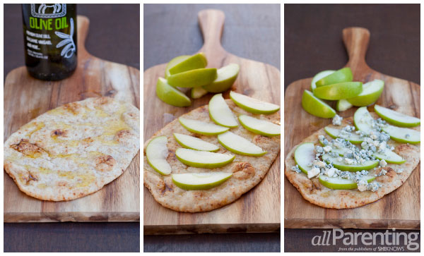 allParenting apple, gorgonzola and spinach naan pizzas prep
