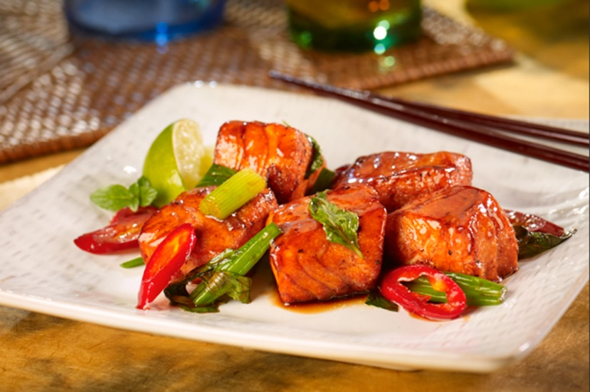 Pan-glazed Salmon with Oyster Flavored Sauce and Basil