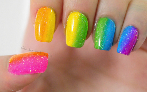 St Patricks Day Nails Ombre Rainbow Nail Art Design