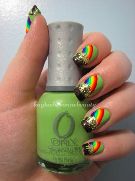 St. Patrick's Day nails- Pot of Gold nail design