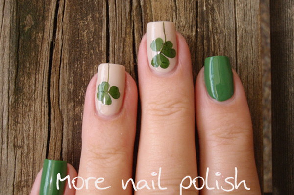 St patricks day nails to try st patricks day nails pressed clover nail art tutorial prinsesfo Gallery
