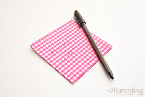 DIY office supplies- scrapbook paper note pad