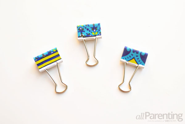DIY office supplies- fabric covered binder clips