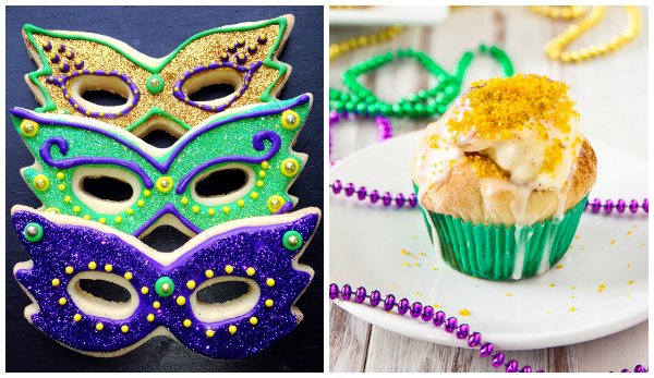 Mardi Gras treats- cookies and cupcakes