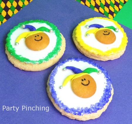 Party Pinching Mardi Gras cookies