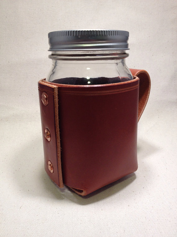 Leather Wrapped Mason Drinking Jar