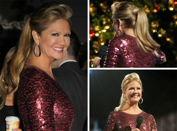 Nancy O'Dell wearing a ponytail