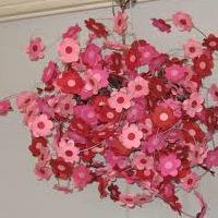 Paper flower light fixture