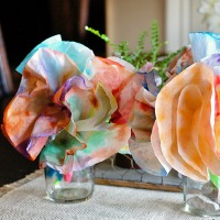 Tie-dyed coffee filter flowers