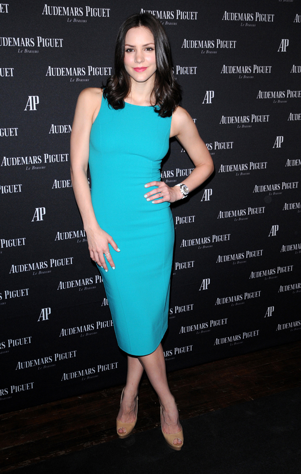 Katharine McPhee wearing a blue sheath dress