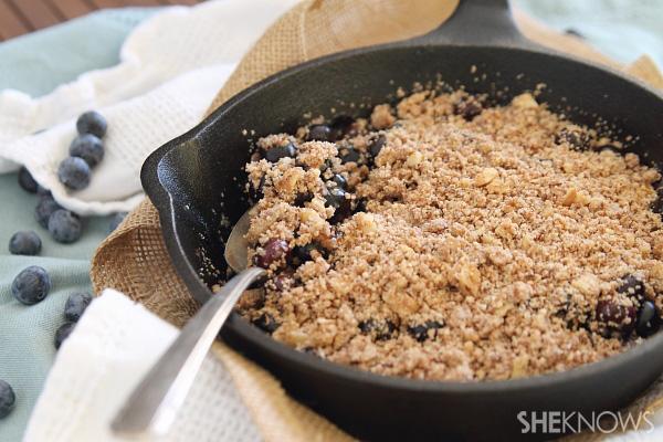 Paleo blueberry skillet crisp