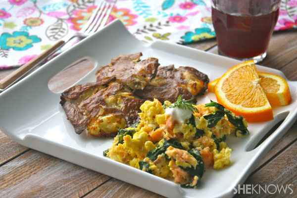 Smoked salmon & spinach scramble with smashed potatoes