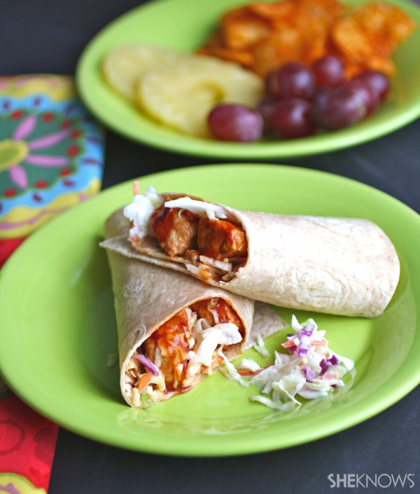 Sweet and tangy pork & slaw sandwich wraps