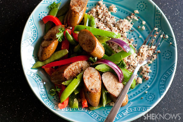 Organic chicken sausage and pepper stir fry