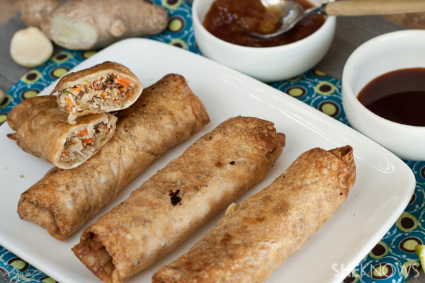 Crispy garlic ginger lemongrass veggie egg rolls