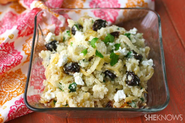 Meatless Monday: Cauliflower couscous with caramelized onions, cherries & goat cheese