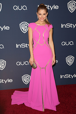 Maria Menounos pink Golden Globes gown
