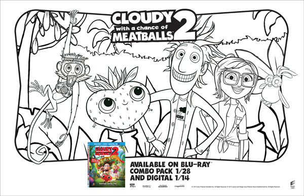 Cloudy with a Chance of Meatballs 2 placemats