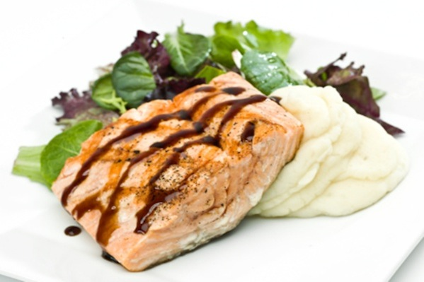 Salmon with red wine porcini sauce