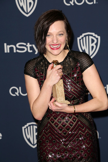 Elisabeth Moss at the 2014 Golden Globes