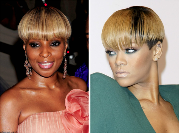 Rihanna and Mary J. Blige wearing bowl haircuts