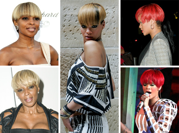 Rihanna and Mary J. Blige wearing bowl cuts