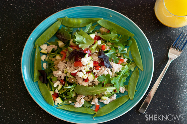 Warm quiona and turkey salad with feta recipe
