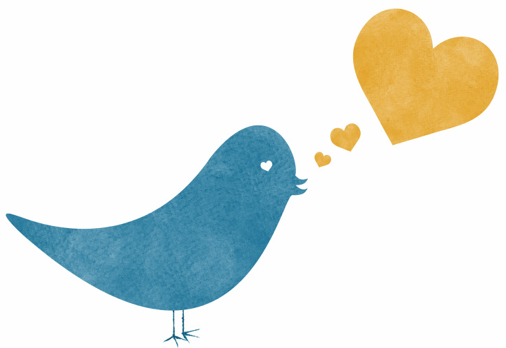 Twitter bird and heart
