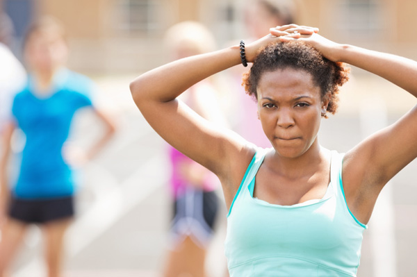 Unhappy woman after race