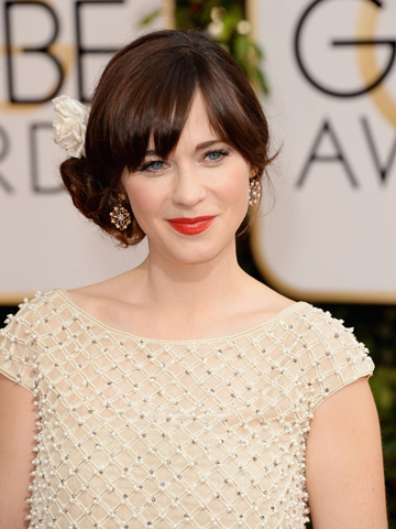 Zooey Deschanel at the 71st annual Golden Globes